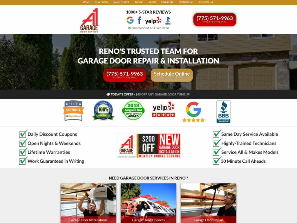 home service business website, highly converting garage doors