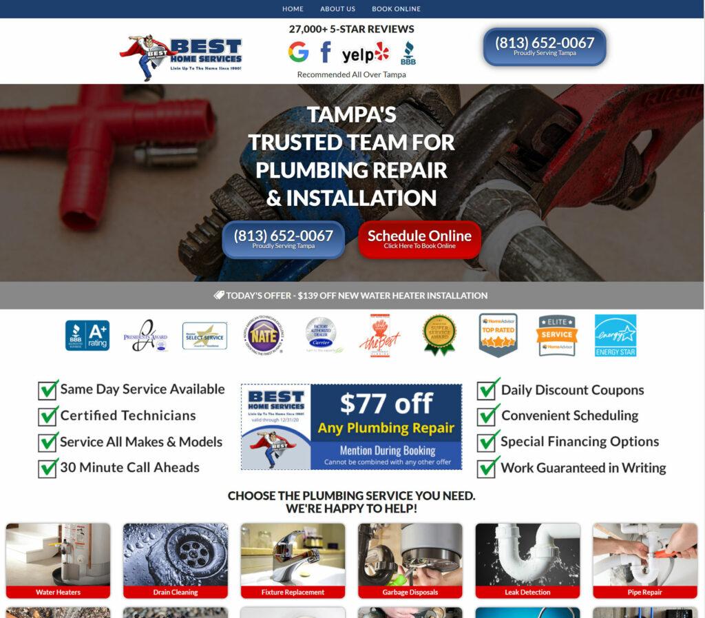 plumbing home service business website