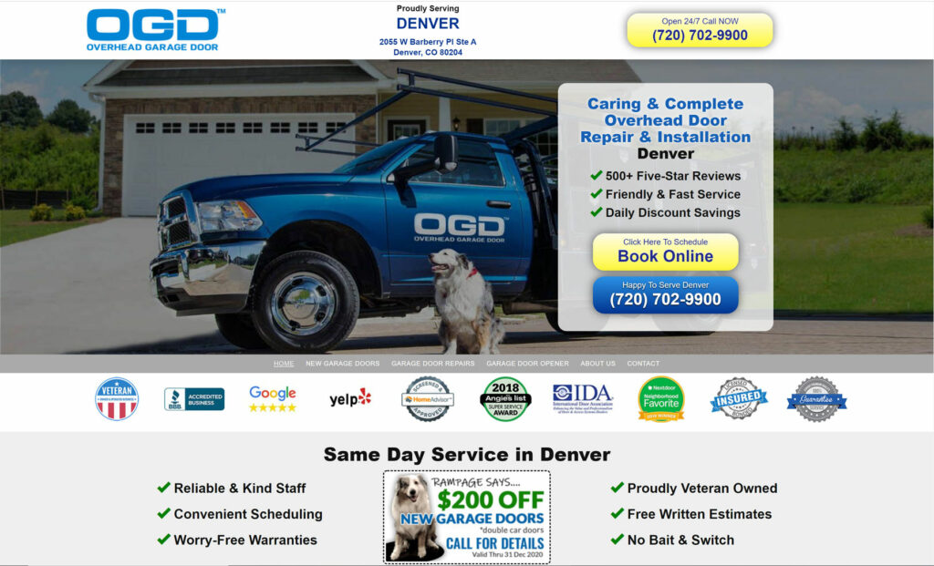 best garage door company WordPress websites