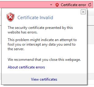 no valid certificate